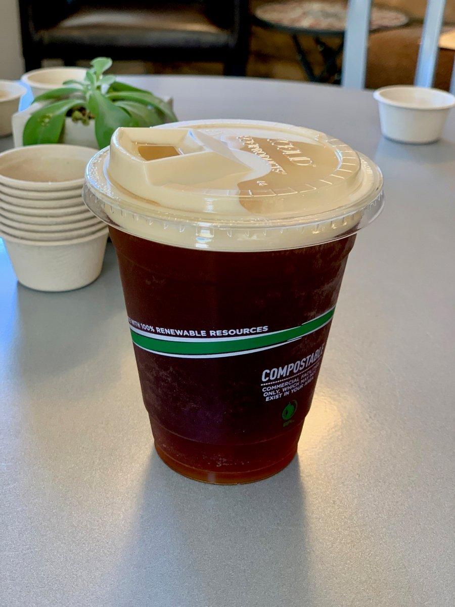 Blue Ridge Bucha compostable cup