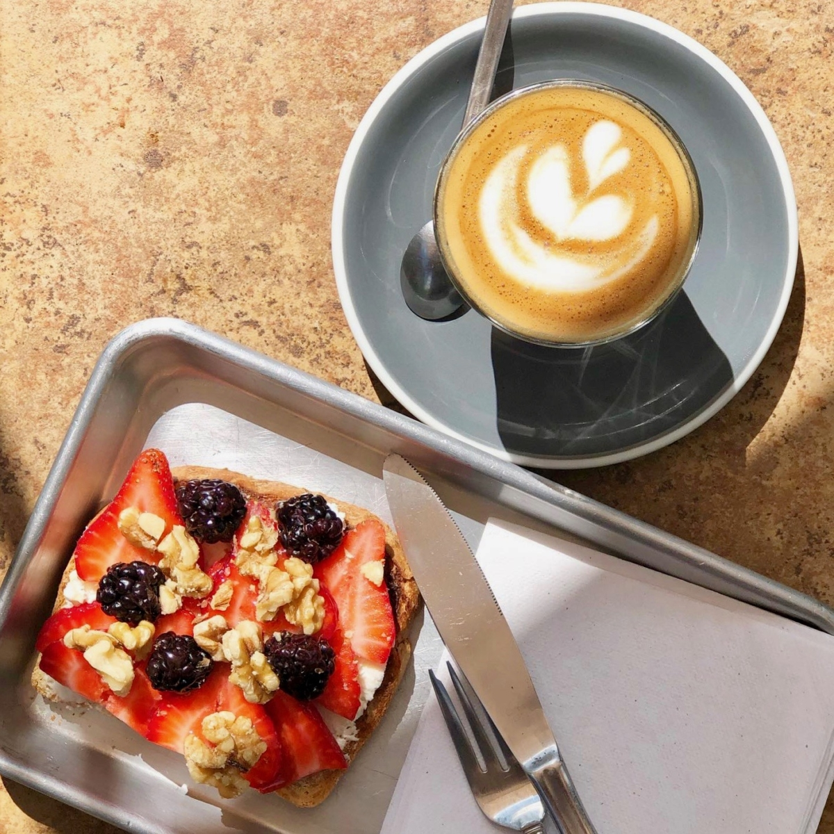 Farmhaus goat cheese toast with berries