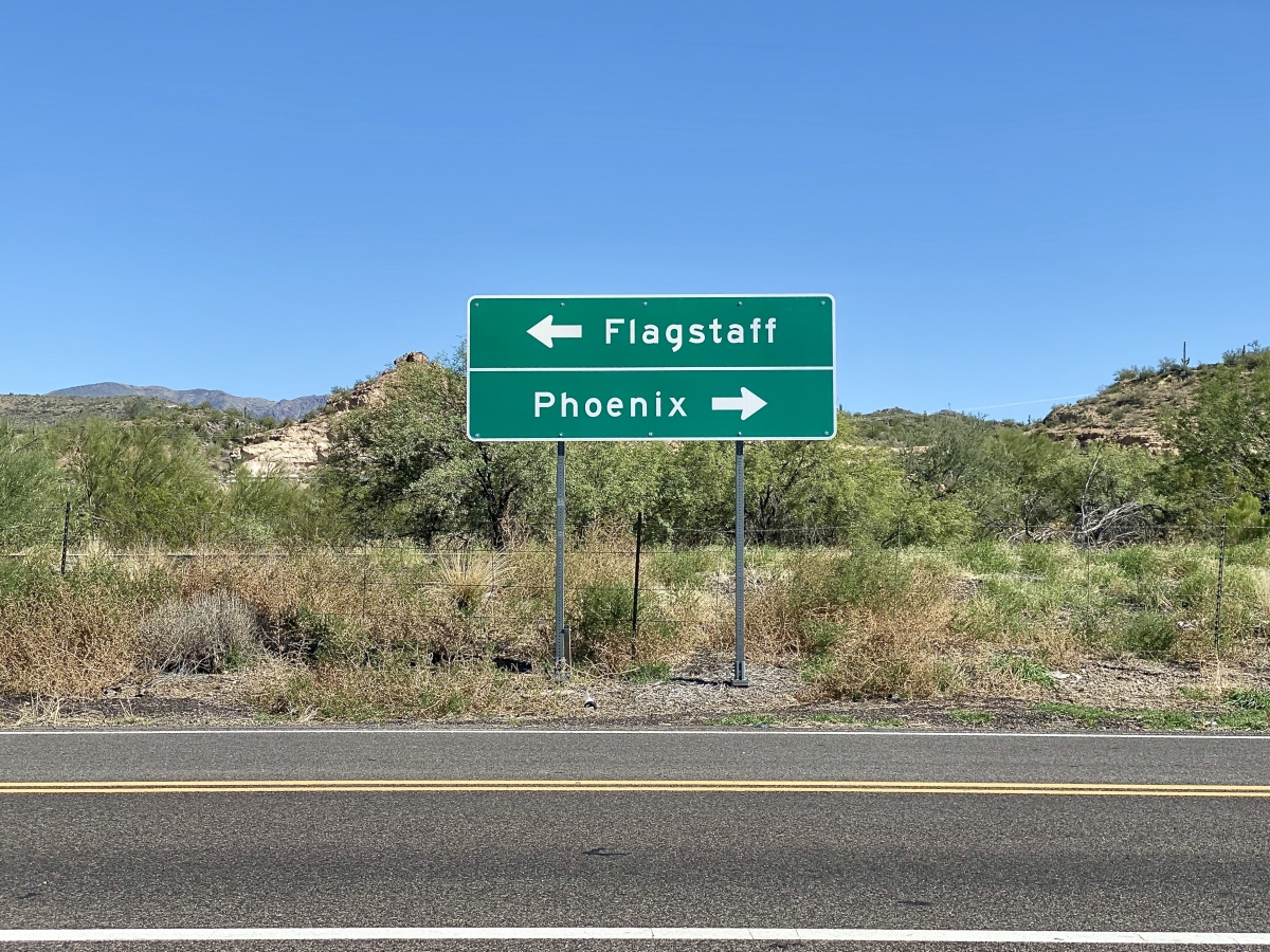 To Phoenix to Flagstaff road sign - Things to Do on a Drive from Phoenix to Flagstaff, Arizona