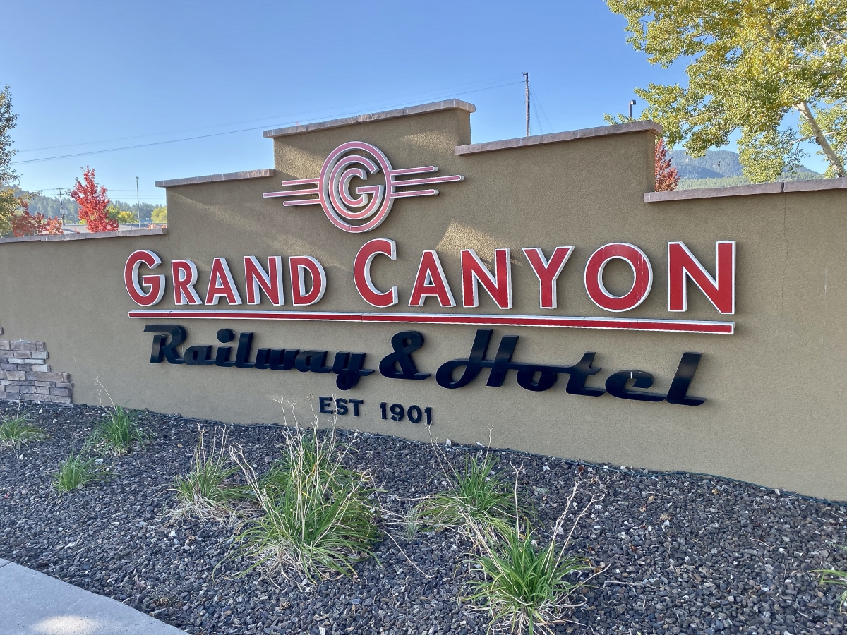 Grand Canyon Railway Hotel sign - Take the Train to Grand Canyon National Park: An Insider's Guide