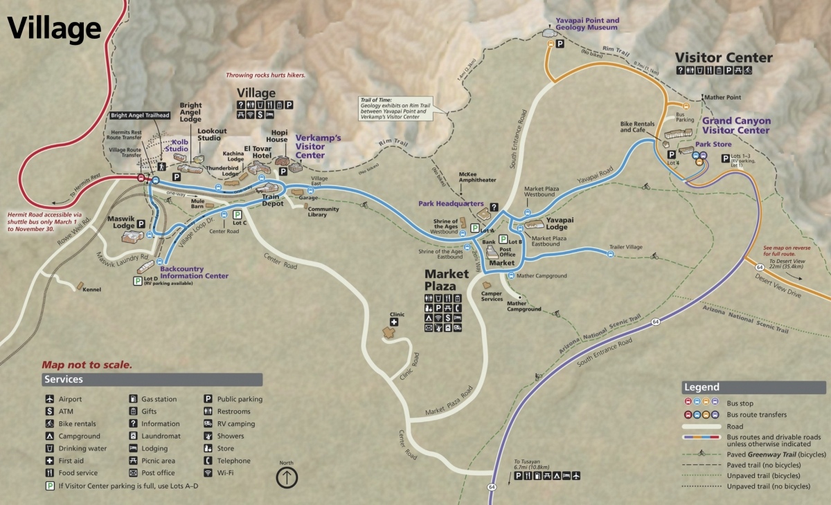 Grand Canyon South Rim Map - Take the Train to Grand Canyon National Park: An Insider's Guide